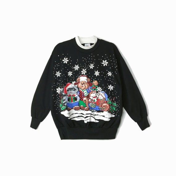 90s Vintage Woodland Critters Christmas Sweater / Black Ugly Tacky Holiday Sweatshirt / Bears Raccoons Squirrels Snowflake - Women's Medium