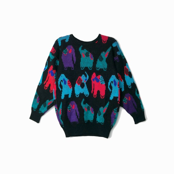 Vintage 90s Colorful Elephant Sweater / Metallic Black Sweater / Novelty Animal-Print Zoo - women's small