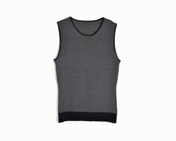 Vintage 90s Gray & Black Ribbed Knit Top / Sleeveless Tank Top / 90s Minimalist Fashion - women's medium
