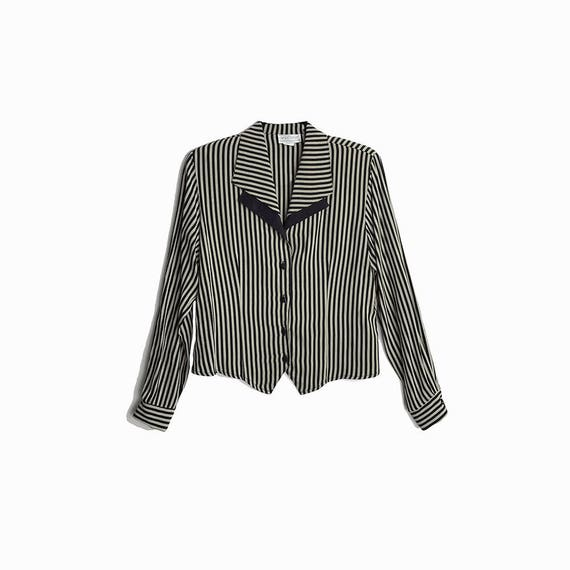 Vintage 90s Striped Double Collar Blouse in Black & Gray - women's small