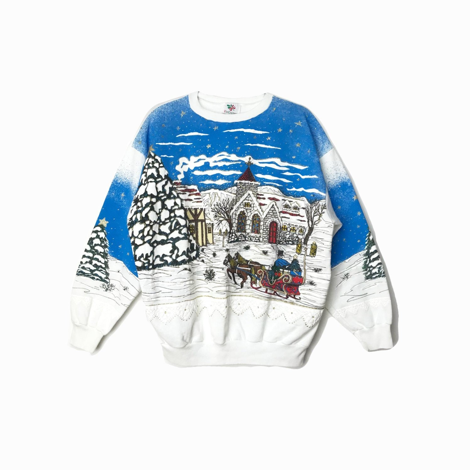 Blue And White Christmas Sweater.90s White Ugly Christmas Sweater Vintage Tacky Sweater