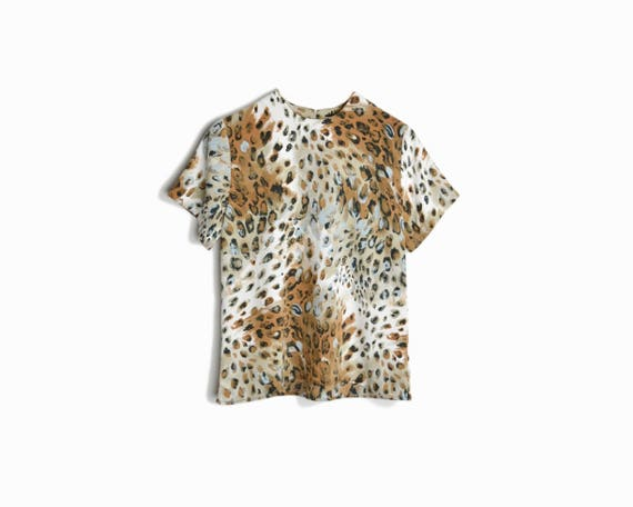 90s Vintage Snow Leopard Blouse / Animal Print Blouse / Party Top - women's small