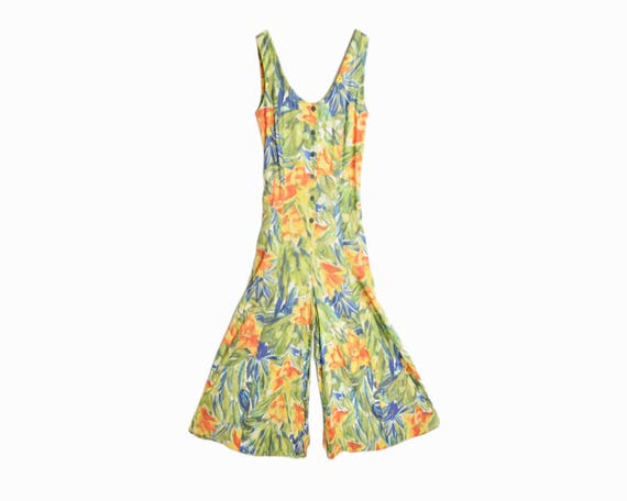 Vintage 90s Floral Palazzo Jumpsuit / 90s Colorful Pastel Playsuit Romper / Sleeveless Tropical Print Onesie - Women's US 6
