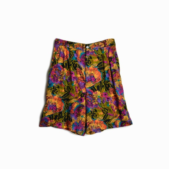 Vintage 90s High Waisted Floral Shorts / Colorful 90s Print Baggy Shorts / Bright Tropical Flowers - women's xs/small