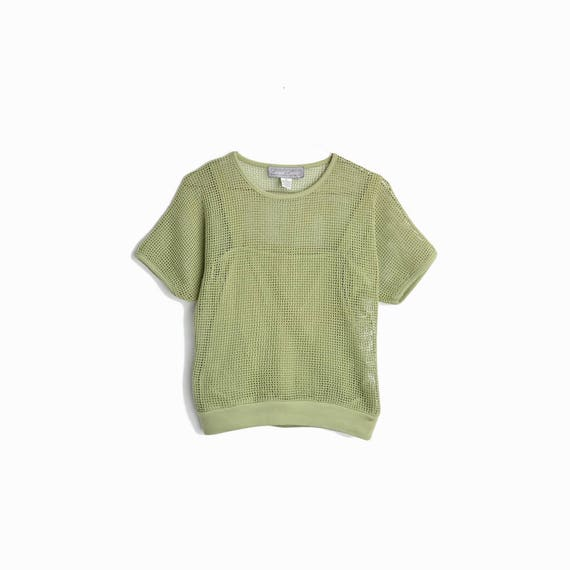 Vintage 80s Mesh Overlay Top in Sage Green / 80s Casual Corner - women's small