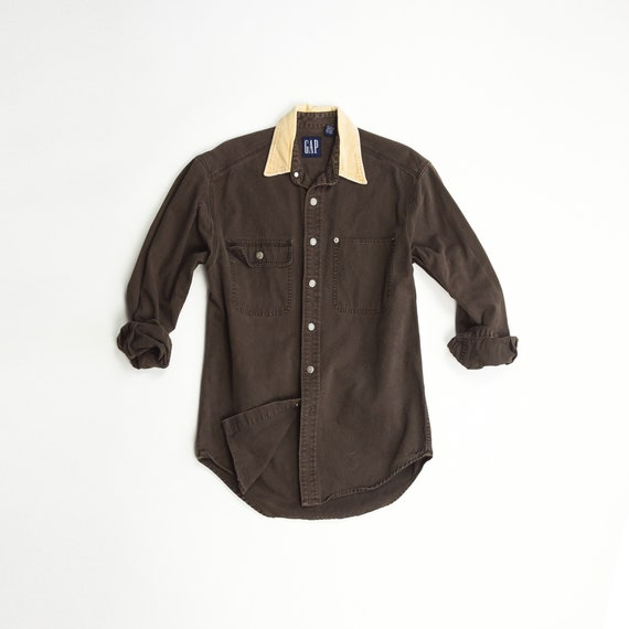 corduroy collar work shirt | 90s GAP utility shirt | brown canvas shirt