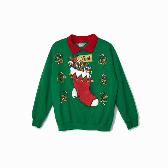 vintage Elf sweater | green ugly Christmas sweater