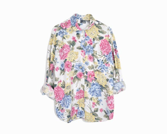 90s floral boyfriend shirt | white floral top