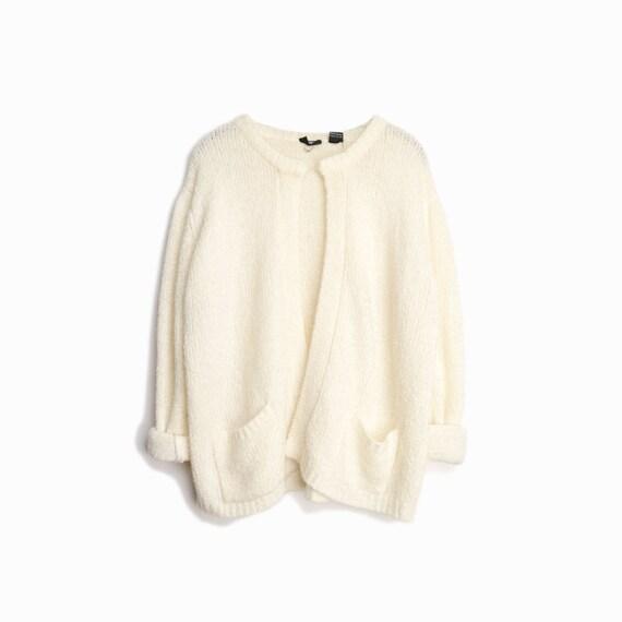 Vintage Ivory Boucle Sweater / Cream Boucle Cardigan Sweater - women's large/xl