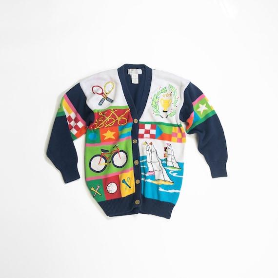 vintage novelty sweater   summer holidays cardigan   bicycle tennis sailboat