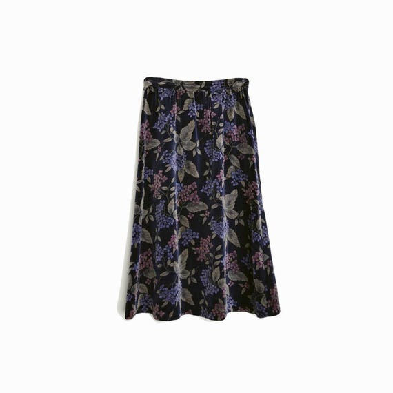 Vintage Floral Print Velvet Skirt in Navy Indigo - women's xs/small