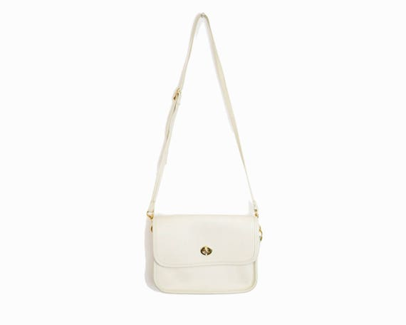Vintage Ivory Leather Turnlock Purse / Crossbody Satchel Bag / White Leather Purse