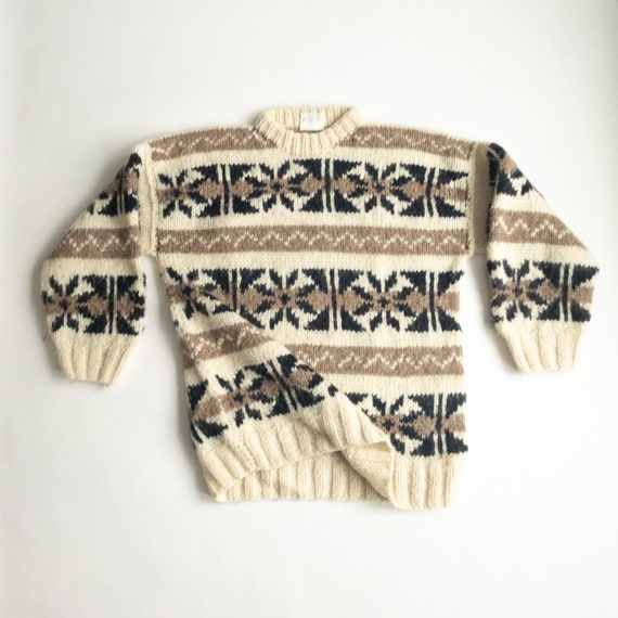 Ecuadorian wool sweater | cozy print sweater | chunky crewneck | naturals - men's xl
