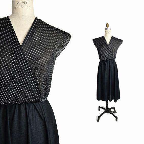 Vintage 80s Striped Lurex Party Dress in Black & Silver/ Little Black Dress Cross Front - women's small