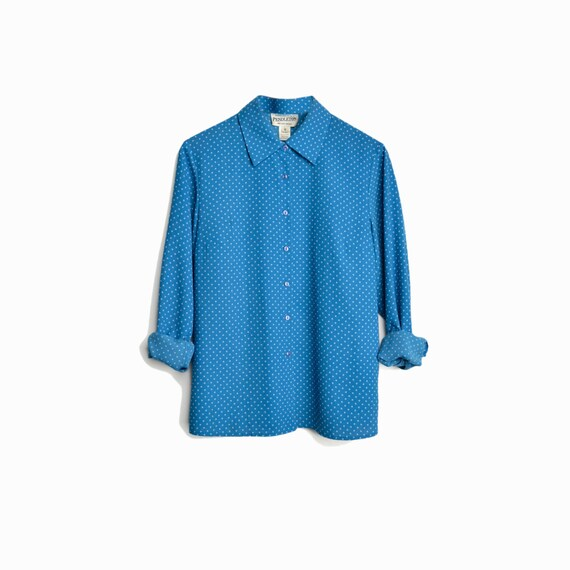Vintage 90s Polka Dot Blouse in Aqua Blue by Pendleton / Blue Polka Dot Shirt / Vintage Pendleton - women's medium/large