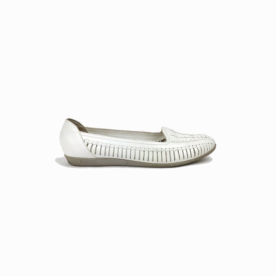Vintage White Leather Huaraches Shoes / Woven Leather Shoes / Huaraches Sandals - women's 8.5