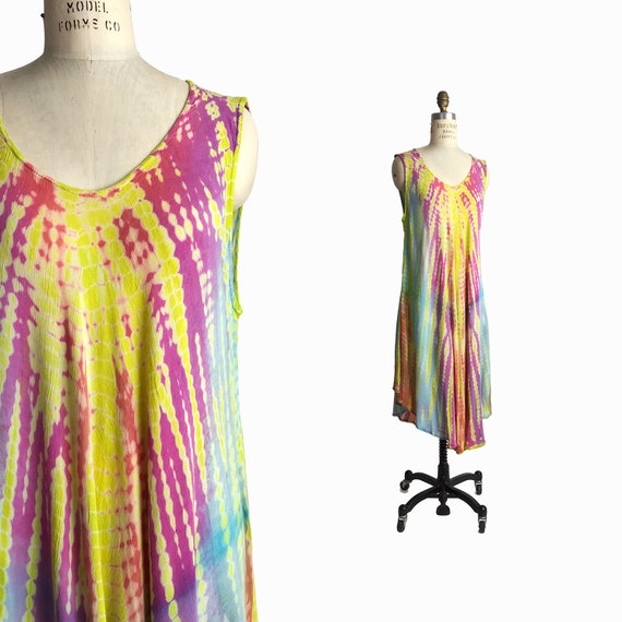 Vintage 90s Tie Dye Summer Dress / Boho Hippie Sundress / New Age Festival Sundress / Colorful Rainbow Crepe Dress 1990s - one size