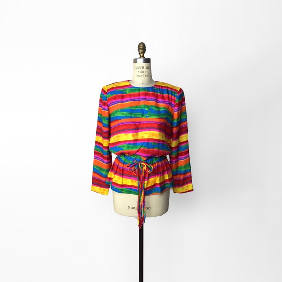 rainbow stripe silk blouse | peplum top