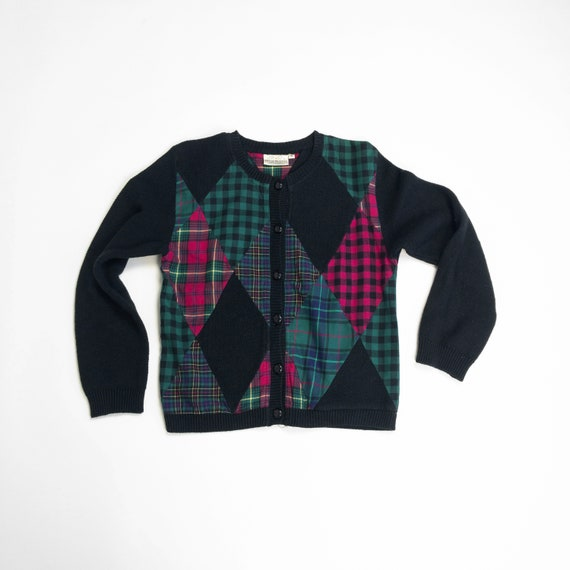 patchwork plaid cardigan | vintage 90s sweater