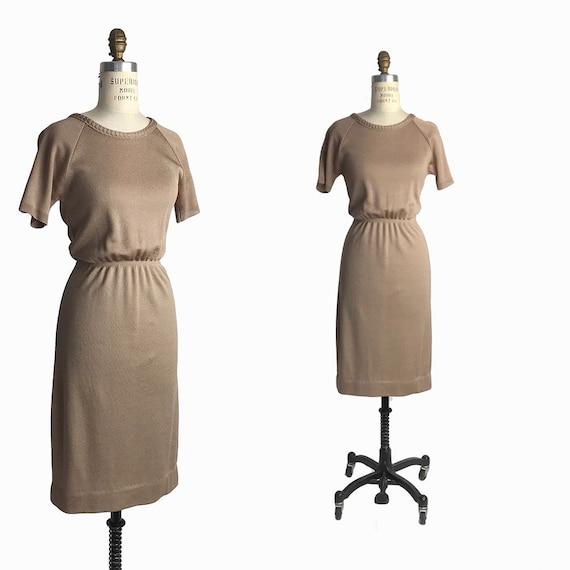 Vintage 60s Dress in Metallic Bronze Shimmer / 1960s 1970s Kay Windsor Dress - women's small