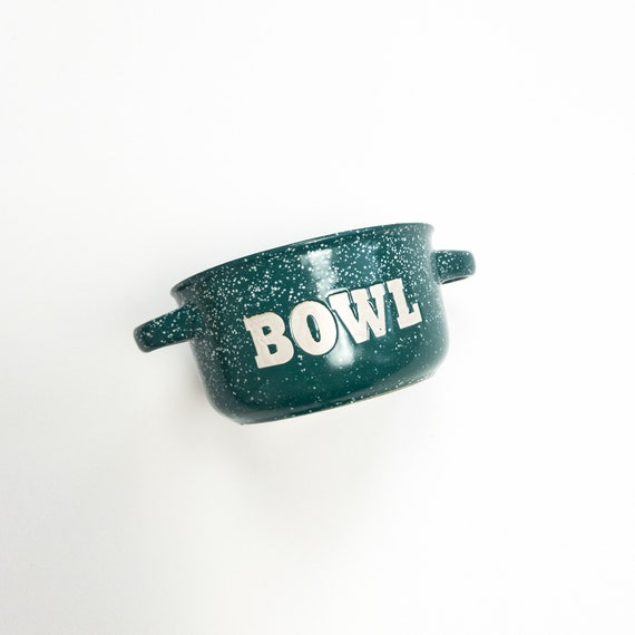 vintage camp bowl | green speckled bowl with handles