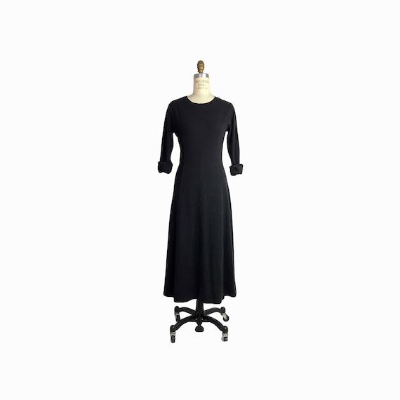Vintage 90s Black Maxi T-Shirt Dress / Long Sleeve Dress / Ankle Length Cotton Dress / Casual Dress - small
