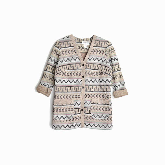 Vintage 70s Southwestern-Inspired House Jacket / 70s Tribal Shirt Jacket - women's medium petite