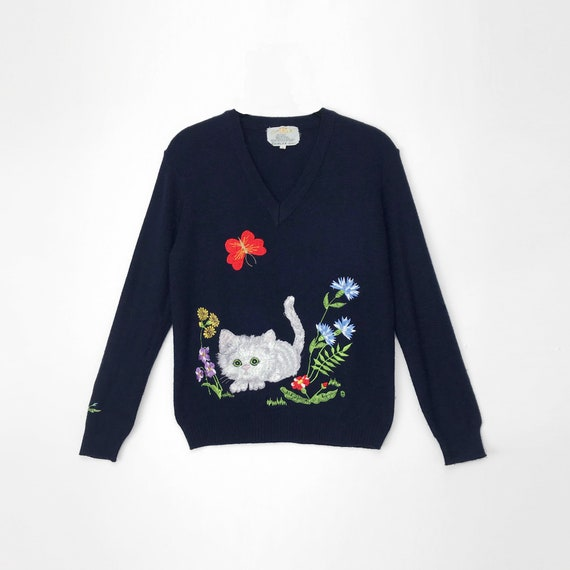 70s kitten sweater | navy blue sweater | embroidered cat sweater - women's small