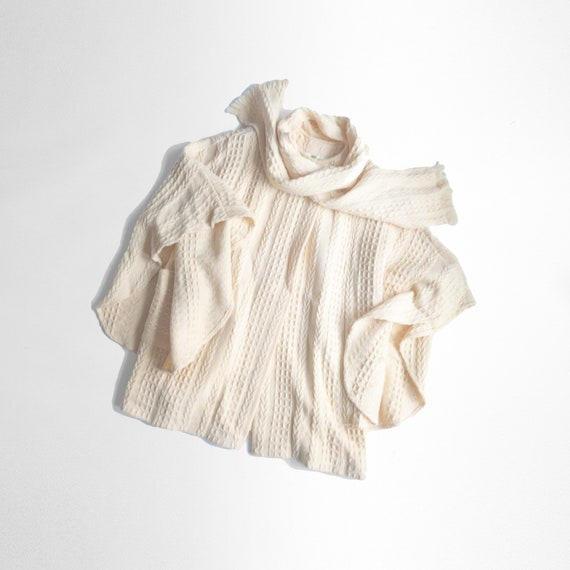 Irish wool cable knit coat | ivory poncho with scarf