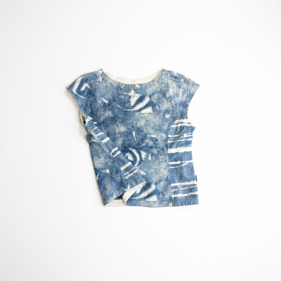 bleached indigo fish top | tropical fish blouse