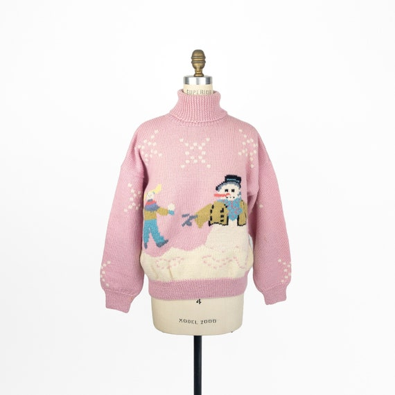 90s Snowman sweater | pink wool ugly Christmas swe