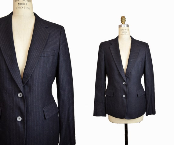Vintage Pinstriped Wool Boyfriend Blazer in Navy - women's medium