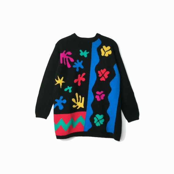 Vintage 90s Colorful Matisse Sweater / Black Rainbow Mohair Tunic Sweater / Henri Matisse Cut-Outs / Wearable Art - women's small