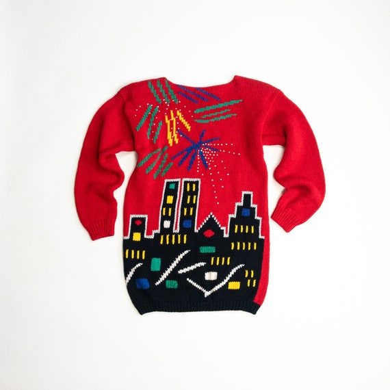 New York City skyline sweater   red novelty sweater   Twin Towers