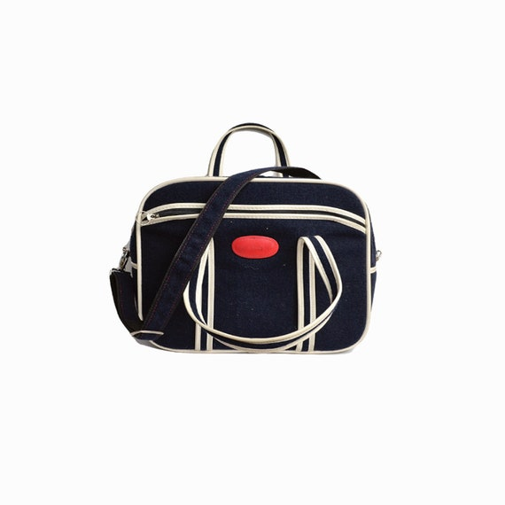 Vintage 80s Navy Blue & White Fabric Weekender Bag  / Yuppy Overnight Bag / Yuppy Luggage / Small Travel Bag