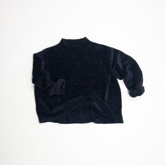 black chenille sweater | boxy sweater
