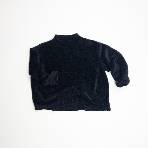 90s black chenille sweater | boxy sweater | mock neck sweater | midnight black - women's large