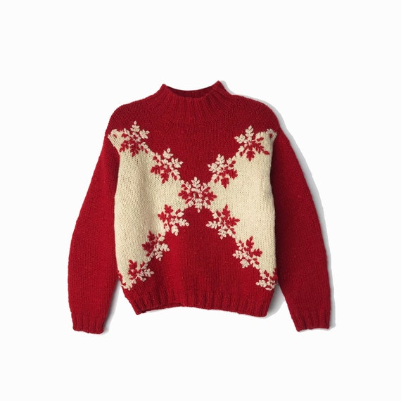 red wool snowflake sweater | 90s christmas sweater