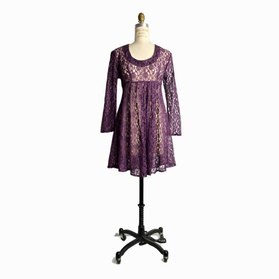 Vintage 90s Purple Lace Babydoll Dress / Sheer Grunge Mini Dress - women's small