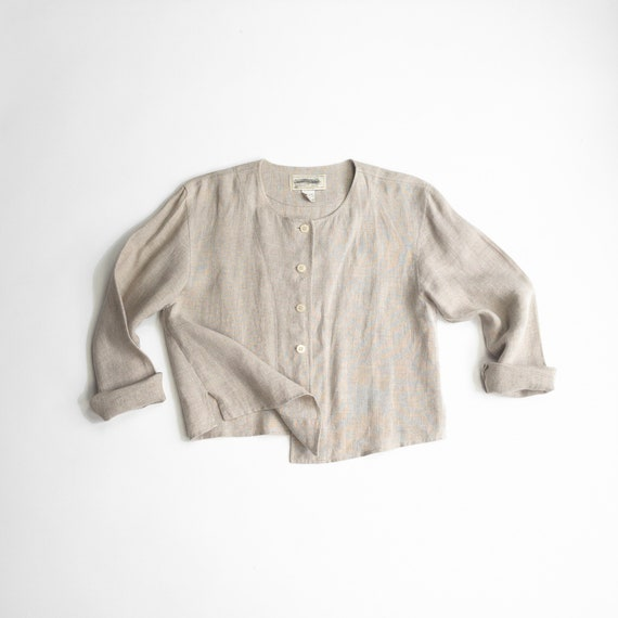 natural linen blouse | tan linen shirt jacket