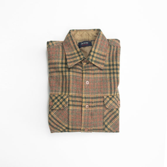 men's rugged wool flannel shirt | green & tan plaid