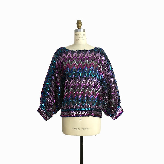 Vintage 80s Rainbow Waves Sequin Party Top / Brilliant 80s Trophy Blouse / Metallic Mardi Gras Top - women's XL