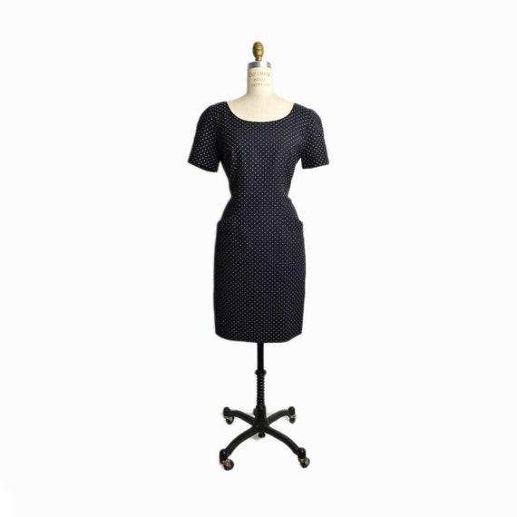 Vintage 90s Little Black Polka Dot Dress / Black & White Dress / Short Sleeve Dress - women's 6