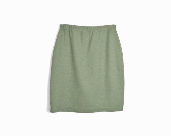 sage green knit skirt