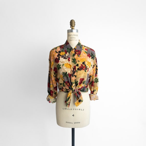 patchwork floral blouse | 90s silk shirt
