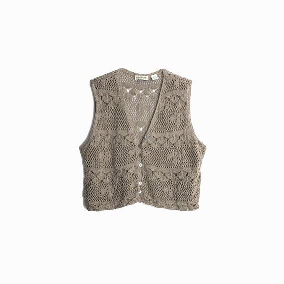 Vintage 90s Crochet Knit Crop Top / Linen Crop Top / Taupe Brown Crochet Vest / 90s Hippie Festival Top - women's medium