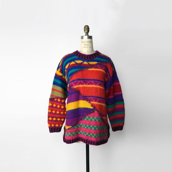 colorful striped mohair sweater | chunky wool sweater
