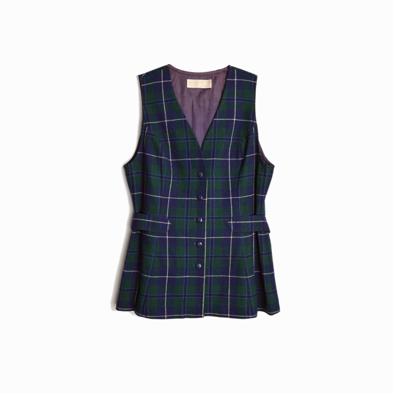 3e877313b5e3b Vintage Pendleton Plaid Wool Vest Top in Navy Blue & Green / 70s ...