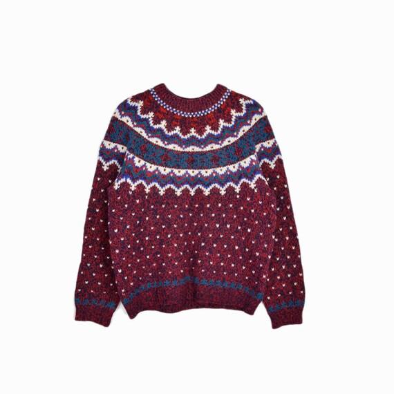 Vintage Woolrich Fair Isle Sweater in Red & Teal / Winter Wool Sweater - women's medium