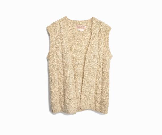 Vintage Irish Wool Boucle Sweater Vest in Barley - women's medium